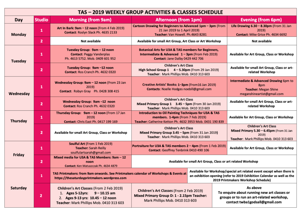2019 Weekly Group Activities and Classes Schedule